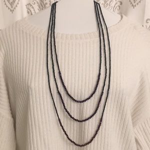 H&M 3-Strand Amethyst and black beaded necklace